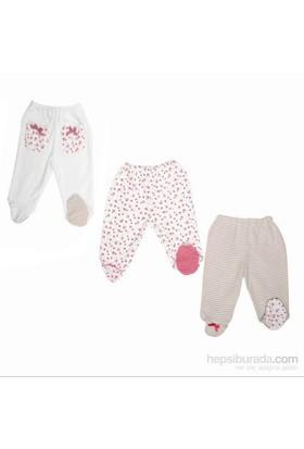 Bebepan 1495 Littles 3Lü Patikli Bebek Pantolonu Beyaz-Pembe 9-12 Ay (74-80 Cm)