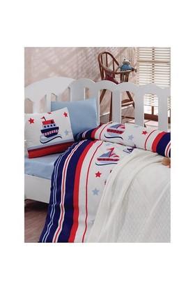 Cottonbox Lux Battaniyeli Nevresim Takımı Denizci Mavi
