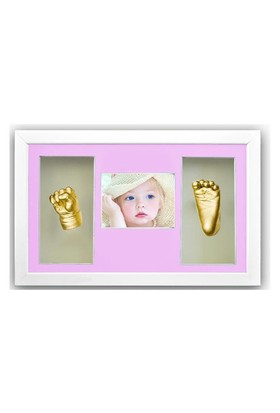 Küçük İzler Beyaz Çerçeveli Resimli 3 Bölmeli, Aljinat ile 3 boyutlu Bebek El-Ayak İzi Heykeli Seti