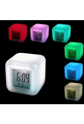 Bluezen 7 Renk Değiştiren Alarmlı Dijital Küp Saat