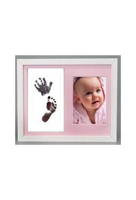Küçük İzler Beyaz Çerçeveli, Resimli İnkless Print El - Ayak İzi Alma Seti