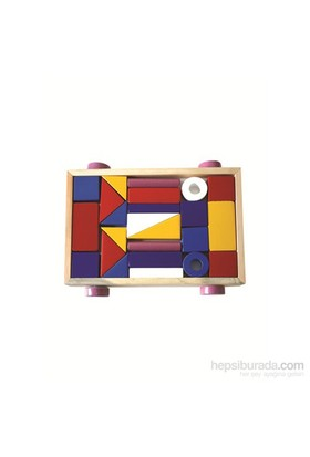 Eksen Ahşap Arabalı Renkli Blok Set 24 Parçalı