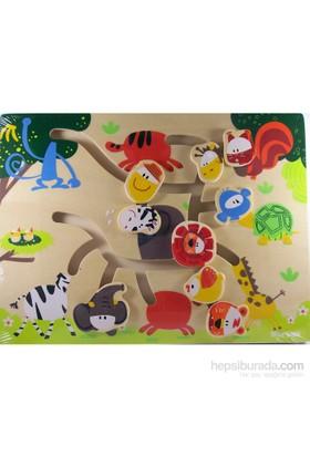 Cc Oyuncak Ahşap Kaydırmalı Puzzle - Hayvanlar Alemi