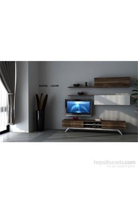 Hayal 12485 Tv Ünitesi Leon Ceviz/Parlak Beyaz