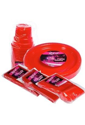 Pandoli 125 Parça 25 Kişilik Plastik Parti Sofra Seti Kırmızı Renk