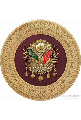 35 Cm Tabak Altın Osmanlı Arması Pano