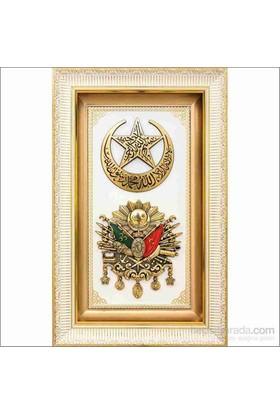 Beyaz Üzeri Altın Yaldız Hilalli Osmanlı Arması Tablo