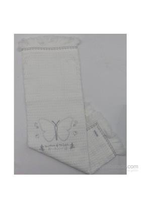 Bebitof Battaniye Bbtf 5194 Kelebek Nakışlı Beyaz