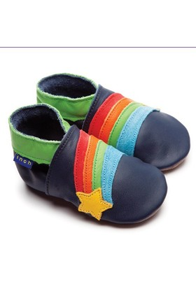 İnch Blue Hakiki Deriden Patik Rainbow Star Navy