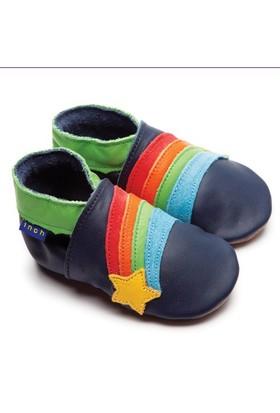 İnch Blue Hakiki Deriden Patik Rainbow Star Navy