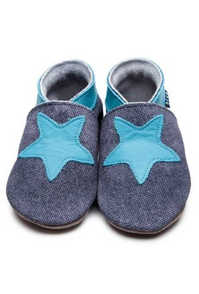 İnch Blue Hakiki Deriden Patik Starry Denim
