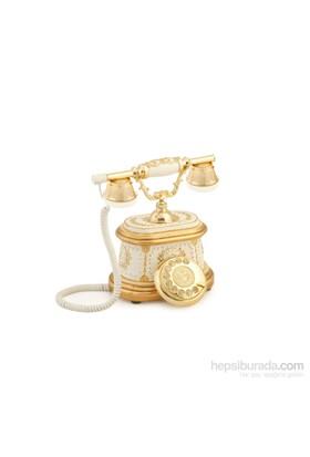 Anna Bell Hisar Ahşap Beyaz Altın Telefon