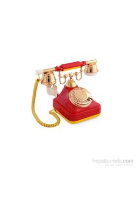 Anna Bell Sarı Kırmızı Klasik Çevirmeli Telefon 1
