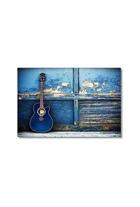 Tictac Mavi Gitar Kanvas Tablo - 50X75 Cm