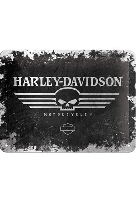 Nostalgic Art Harley Davidson Skull Metal Kabart Malı Duvar Panosu (15 X 20 Cm)