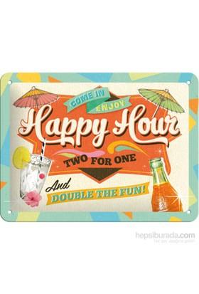 Happy Hour Metal Kabartmalı Pin Up Duvar Panosu