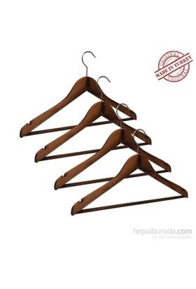 Nyn Ahşap 4'Lü Ceviz Elbise Gömlek Askısı