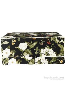 Yastıkminder Koton Çiçek Desenli Beyaz Fitilli Siyah Puf