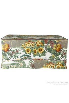 Yastıkminder Koton Yeşil Kum Havai Çiçek Desenli Puf