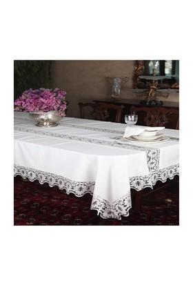 Mella Home Yaprak Dantelli Masa Örtüsü-Peçeteli 160X260