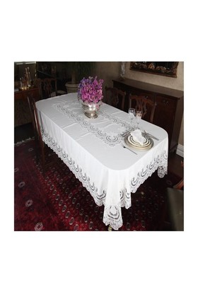 Mella Home Rumeli Masa Örtüsü-Dantelli-Peçeteli-Ekru-170X260