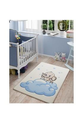Confetti Baby Elephant Mavi Oymalı Halı 100X150 Cm