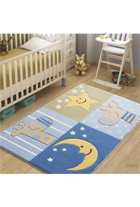 Confetti Sleepy 100x150 cm Mavi Oymalı Çocuk Halısı