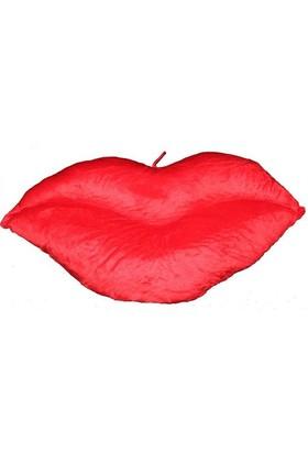 Pandoli Dudak Şekilli Dekoratif Kırmızı Yastık