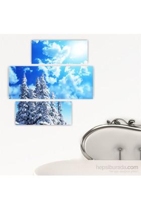Dekoriza Karlı Çamlar & Gökyüzü 3 Parçalı Kanvas Tablo 90X90cm