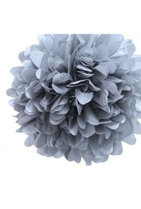 Pandoli 35 Cm Gümüş Renk Pelur Kağıt Ponpon Çiçek Asma Süs 1 Adet