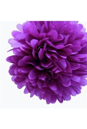 Pandoli 35 Cm Mor Renk Pelur Kağıt Ponpon Çiçek Asma Süs 1 Adet