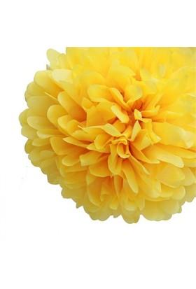 Pandoli 35 Cm Sarı Renk Pelur Kağıt Ponpon Çiçek Asma Süs 1 Adet