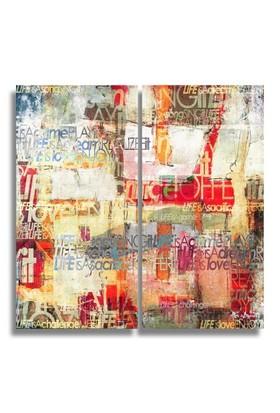 Clock Mango Multi Color Kanvas Tablo 25X60x2prc