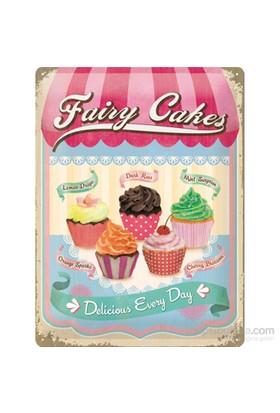 Fairy Cakes - Cup Cakes Metal Kabartmalı Duvar Panosu