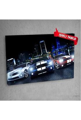 Yarış-Arabaları Led Işıklı Kanvas Tablo 50X70 Cm