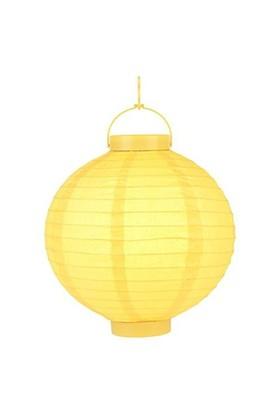 Pandoli 25 Cm Led Işıklı Kağıt Japon Feneri Sarı Renk