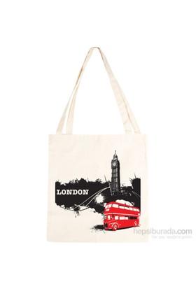Urbangiftlondon Bıg Ben Bus Cotton Tote Bag 40*40Cm