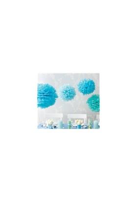 Parti Şöleni Ponpon Çiçek Mavi 6 Adet