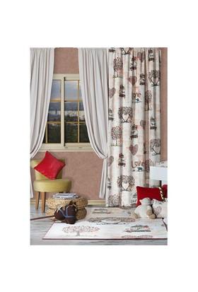 Merlina Home 3Lü Set - Halı + 2 Kanat Fon Perde + 3 Yastık