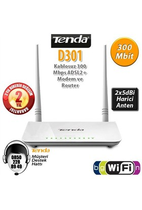 Tenda D301 4Port WiFi-N 300Mbps ADSL2+ Modem+USB
