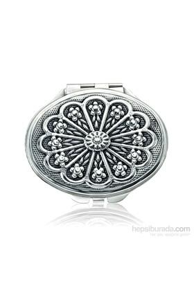 Gumush Gümüş Papatya Motifli Kapaklı Oval Ayna