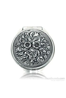 Bayan Lili Gümüş Gül Motifli Kapaklı Ayna