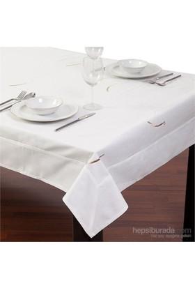 Yastıkminder Koton Beyaz Nakışlı Dikdörtgen Masa Örtü