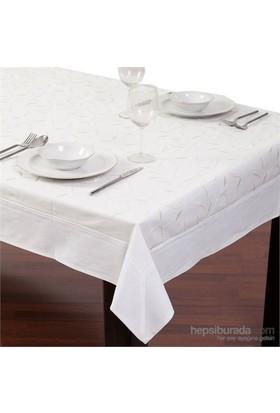 Yastıkminder Koton Beyaz Yaprak Nakışlı Dikdörtgen Masa Örtü
