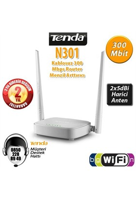 Tenda N301 4Port WiFi-N 300Mbps 2 Anten Router/AP