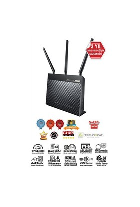 Asus DSL-AC68U Çift Bant Kablosuz-AC1900 Gigabit ADSL/VDSL Modem Router