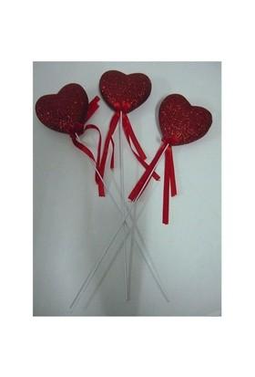 Kurdelalı Çubuklu Kırmızı Simli 3 Adet Büyük Kalp