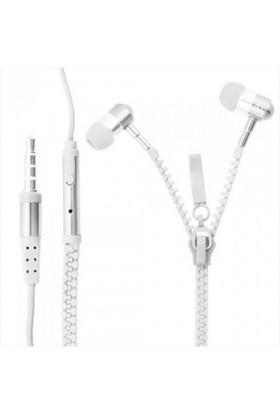 Saywin U-2045 Zipper Mikrofonlu Fermuarlı Kulak İçi Kulaklık Beyaz