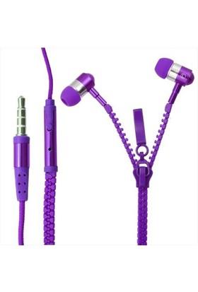 Saywin U-2045 Zipper Mikrofonlu Fermuarlı Kulak İçi Kulaklık Mor