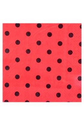 Kırmızı Siyah Puanlı Peçete 20 Adet